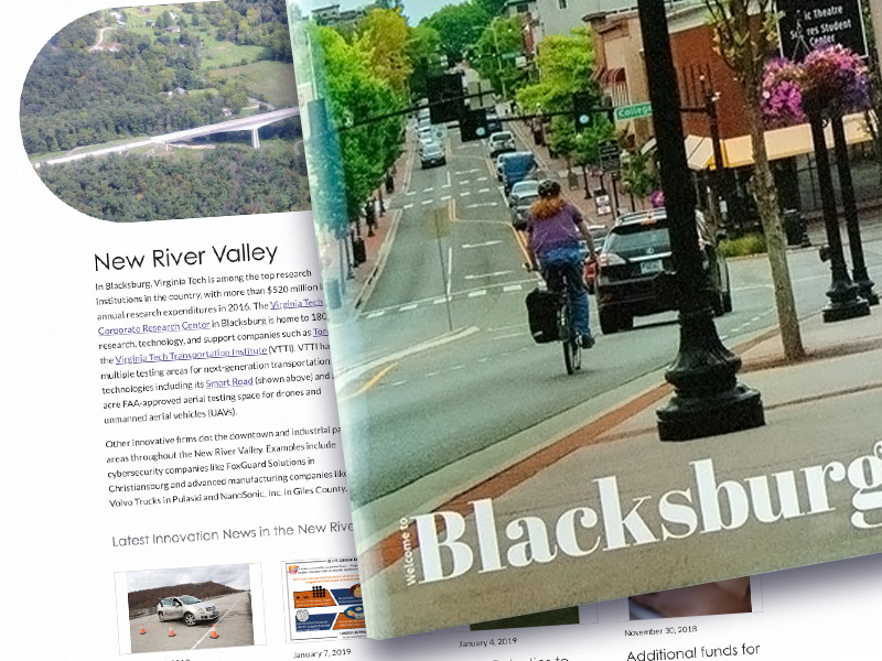 An image of a regional website with a Blacksburg magazine overlayed