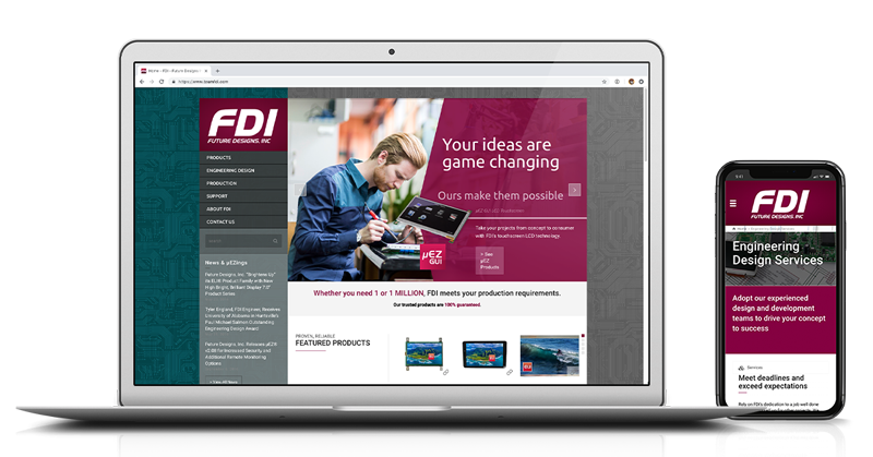 A mockup of a website for an electronics design company called FDI, displayed on a phone and laptop