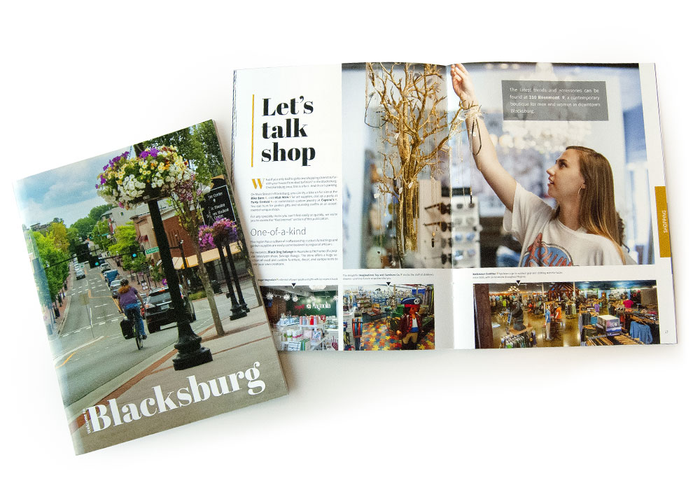 A photo of a magazine for Blacksburg that we designed